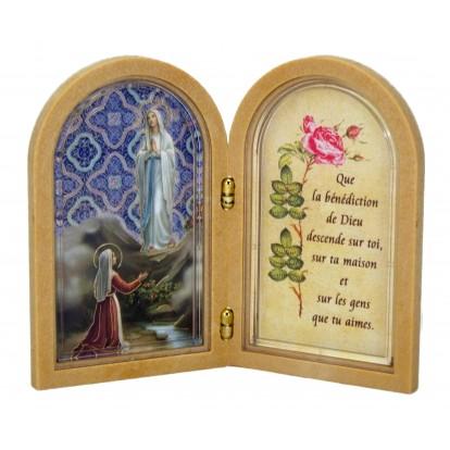Cadre message porte bonheur Notre Dame de Lourdes