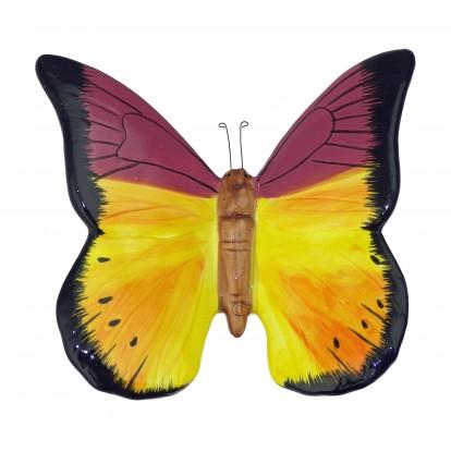 Papillon céramique 23 cm jaune et rose