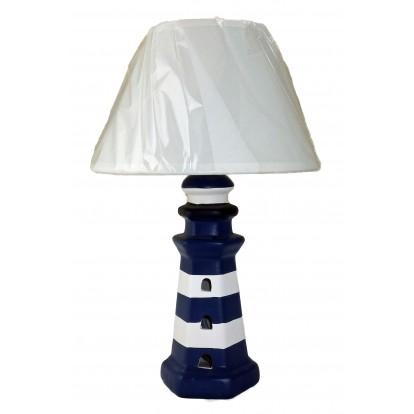 Lampe phare céramique 32 cm abat jour blanc.