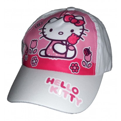 Casquette blanche Hello Kitty fleurs papillons coccinelle