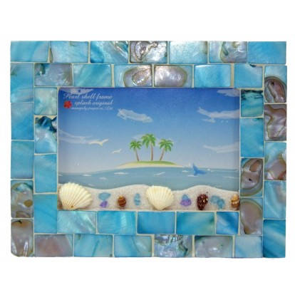 Cadre photo nacre bleue et coquillages