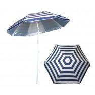 Parasol de plage anti UV rayé bleu et blanc marinière