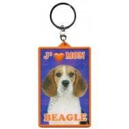 Porte clé 3D J'aime mon Beagle