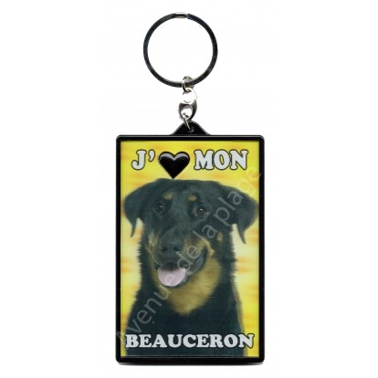 Porte clé 3D J'aime mon Beauceron