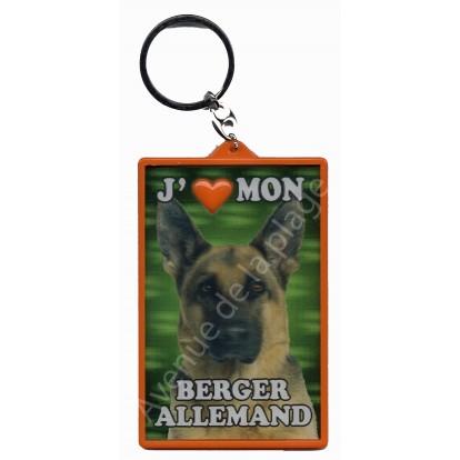Porte clé 3D J'aime mon Berger Allemand, modèle A.