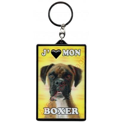 Porte clé 3D J'aime mon Boxer