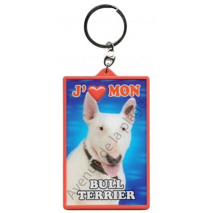 Porte clé 3D J'aime mon Bull terrier