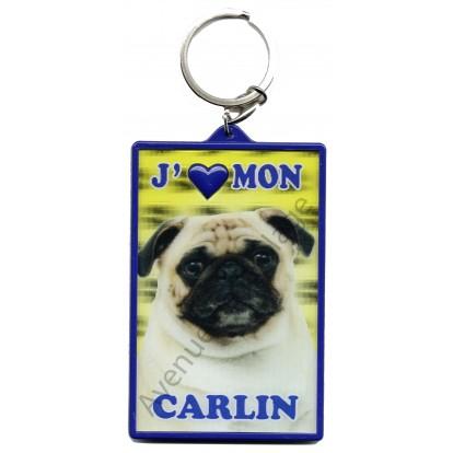 Porte clé 3D J'aime mon Carlin beige