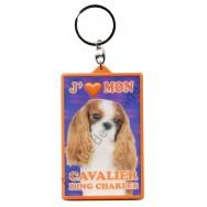 Porte clé 3D J'aime mon Cavalier King Charles, modèle A.