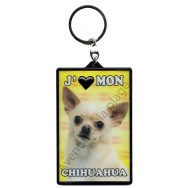 Porte clé 3D J'aime mon Chihuahua, modèle A.