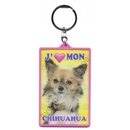 Porte clé 3D J'aime mon Chihuahua, modèle B.