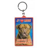 Porte clé 3D J'aime mon Dogue de Bordeaux