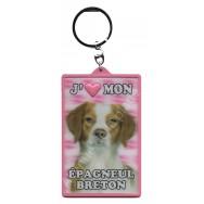Porte clé 3D J'aime mon Epagneul Breton
