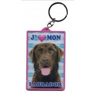 Porte clé 3D J'aime mon Labrador marron.