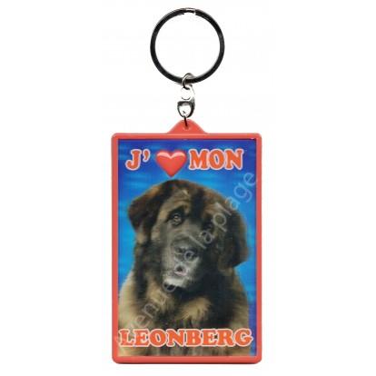 Porte clé 3D J'aime mon Leonberg