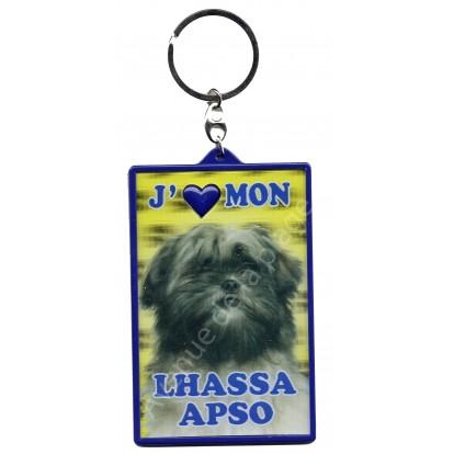 Porte clé 3D J'aime mon Lhassa Apso