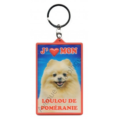 Porte clé 3D J'aime mon Loulou de Poméranie