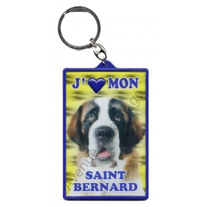 Porte clé 3D J'aime mon Saint Bernard