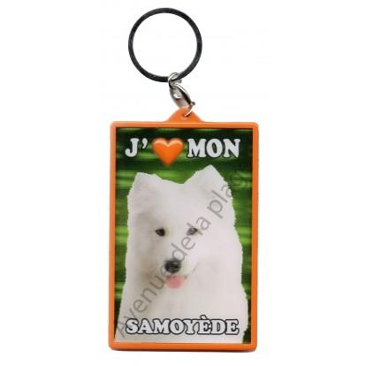 Porte clé 3D J'aime mon Samoyède