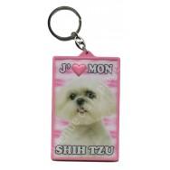 Porte clé 3D J'aime mon Shih Tzu
