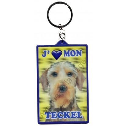 Porte clé 3D J'aime mon Teckel à poils dur, modèle A.
