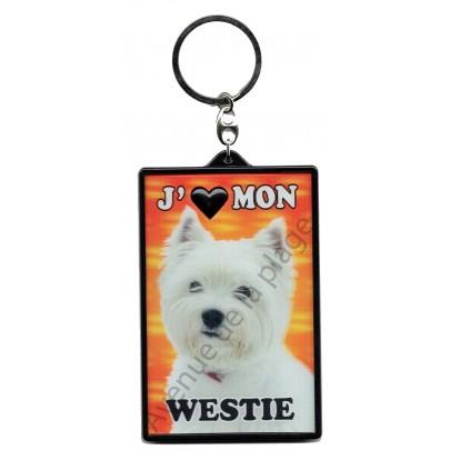 Porte clé 3D J'aime mon Westie, modèle A.