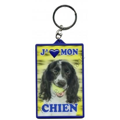 Porte clé 3D J'aime mon Chien, modèle A.