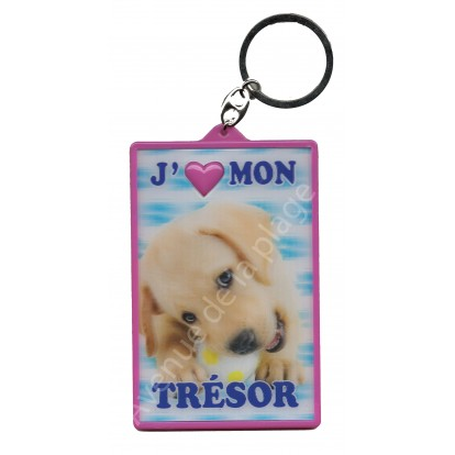 Porte clé 3D J'aime mon Trésor, porte clef chiot.