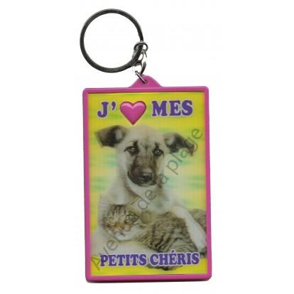 Porte clé 3D J'aime mes Petits Chéris - Chien et chat, modèle A.