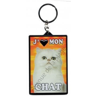 Porte clé 3D J'aime mon Chat blanc, modèle B.