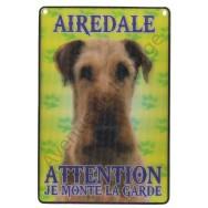 Plaque 3D Attention je monte la garde - Airedale