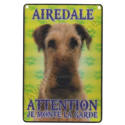 Plaque 3D Attention je monte la garde - Airedale