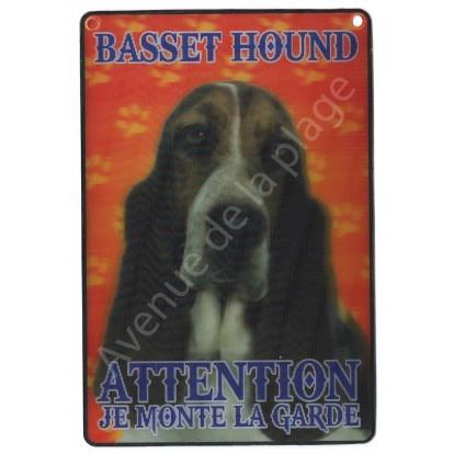 Plaque 3D Attention je monte la garde - Basset Hound