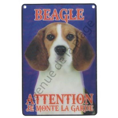 Plaque 3D Attention je monte la garde - Beagle
