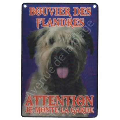 Plaque 3D Attention je monte la garde - Bouvier des Flandres