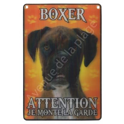 Plaque 3D Attention je monte la garde - Boxer, modèle A.