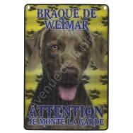 Plaque 3D Attention je monte la garde - Braque de Weimar