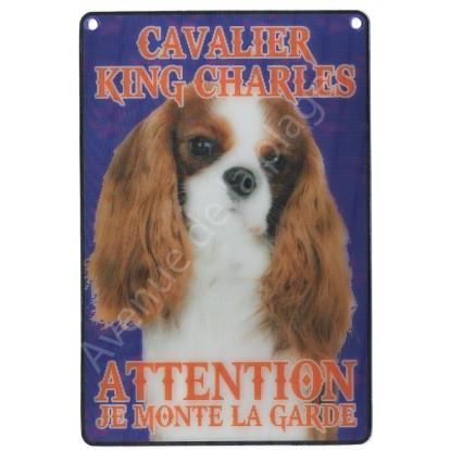 Plaque 3D Attention je monte la garde - Cavalier King Charles, modèle A.