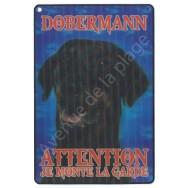 Plaque 3D Attention je monte la garde - Dobermann