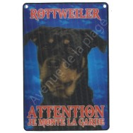 Plaque 3D Attention je monte la garde - Rottweiler