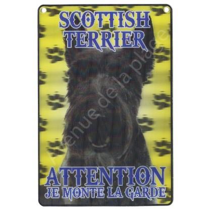 Plaque 3D Attention je monte la garde - Scottish Terrier