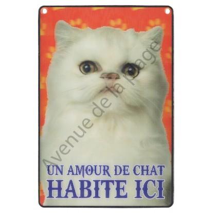 Plaque 3D Un Amour de Chat blanc habite ici, modèle A.