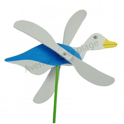 Moulin à vent mouette bleue en bois avec les ailes qui tournent.