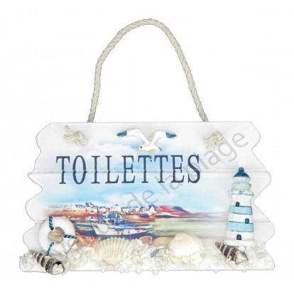 Plaque de porte paysage marin, Toilettes.