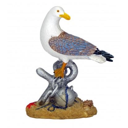 Statuette mouette posée sur ancre 16 cm - Décoration marine