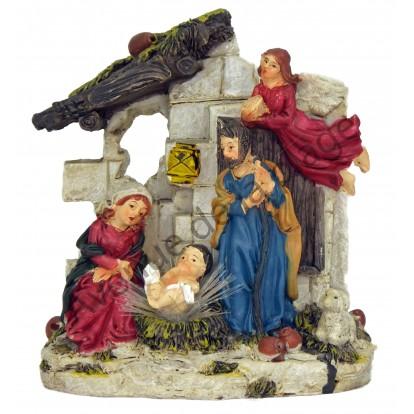 Crèche lumineuse Jésus, Marie, Joseph dans l'étable modèle A.