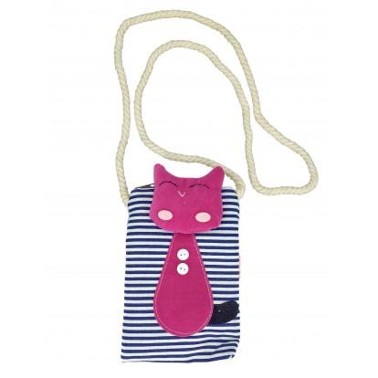 Sacoche bandoulière marinière bleue marine et chat rose.