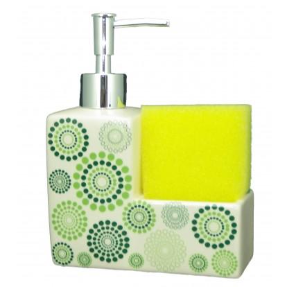 Distributeur de savon avec porte éponge vert.