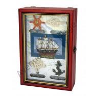 Boîte à clefs noeuds marins et voilier