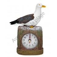 Horloge mouette sur piquet - Décoration marine